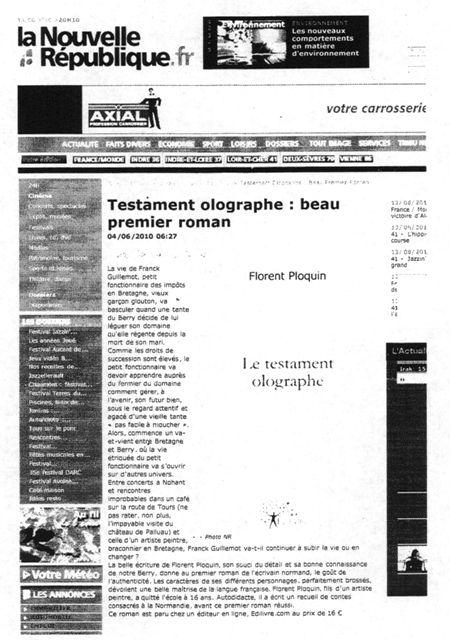Le Testament olographe - Florent Ploquin