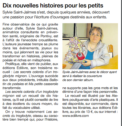 article_Ouest France_Sylvie Saint James_2016_Edilivre