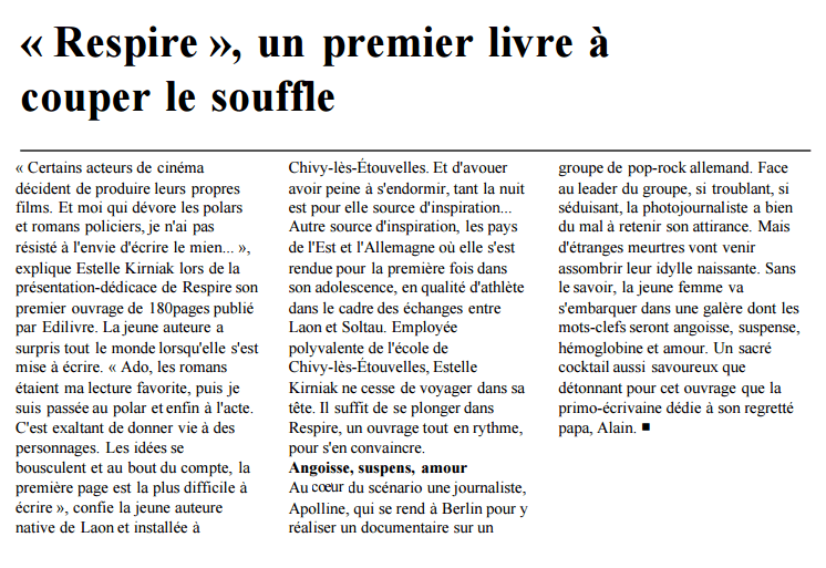 article_L'Union_Estelle Kirniak_Respire_2016_Edilivre