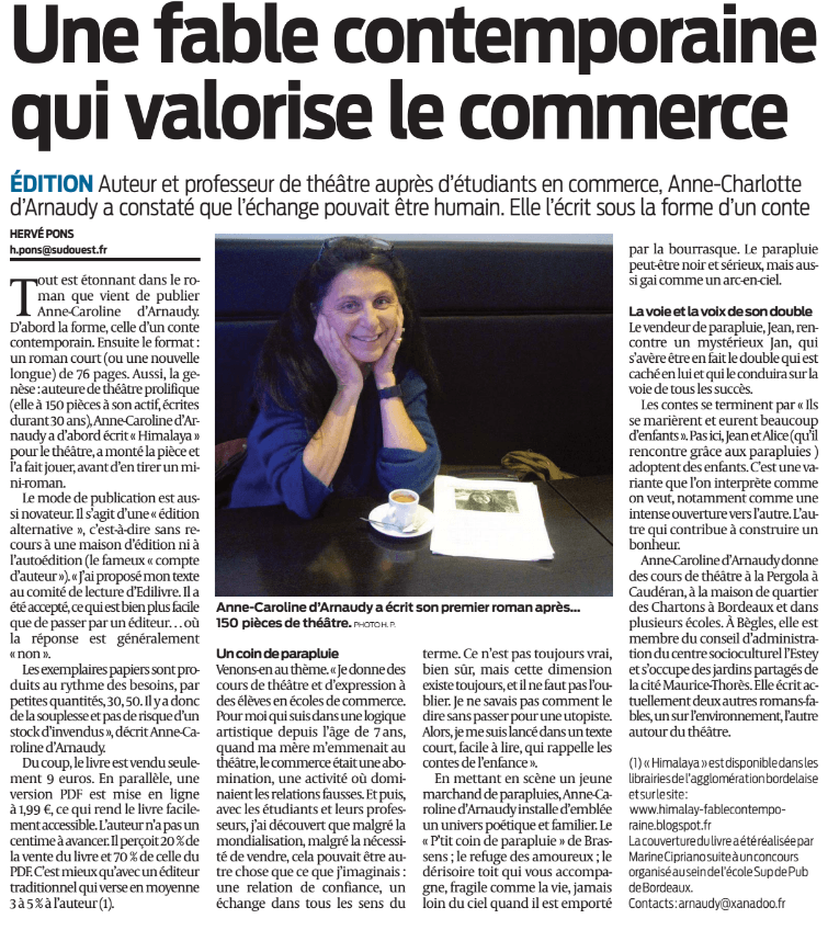 article_Sud Ouest_Anne-Caroline d'Arnaudy