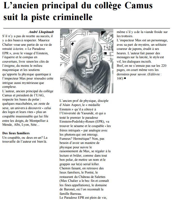 """Maurice Chalier dans La Dépêche Du Midi pour son ouvrage """"Le Paradoxe EPR""""  - Edilivre - publier un livre en ligne"""