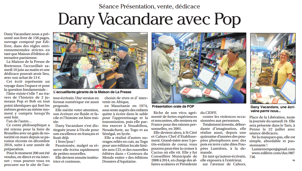 article_Le Petit Journal Lot_Dany Vacandare_2017_Edilivre