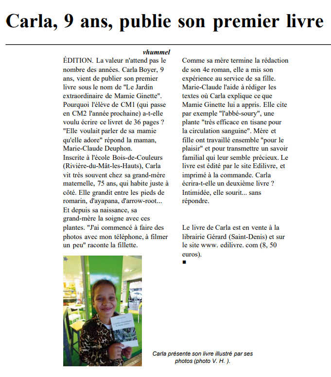 article_Le Journal De L'île _Carla Laure Boyer_2017_Edilivre