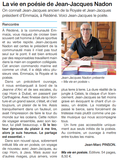 article_Ouest_France_Jean_Jacques_Nadon_2018_Edilivre