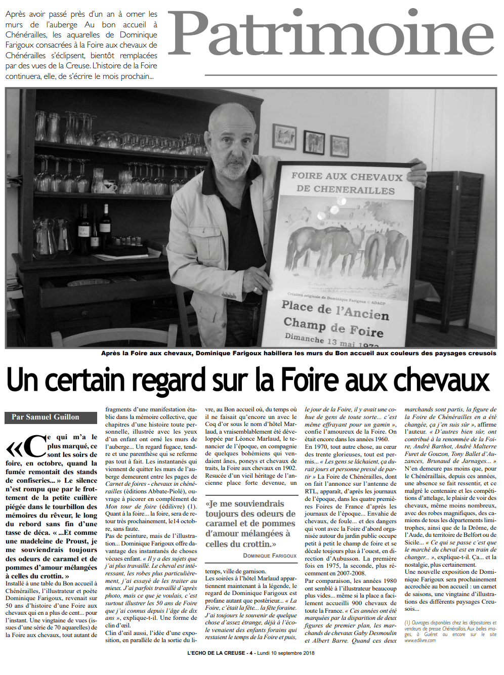 article_L'Echo_Dominique_Farigoux_2018_Edilivre