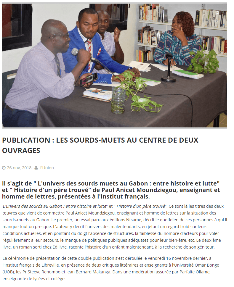 article_L'Union_Paul_Anicet_Moudziegou_2018_Edilivre
